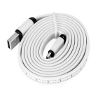 USB 2.0 to Micro USB Flat Data Charging Cable w/ Scale - White (1.2m)