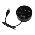 Cwxuan USB 2.0 Hub de 3 portas + SD / TF / MS / M2 Card Reader - preto