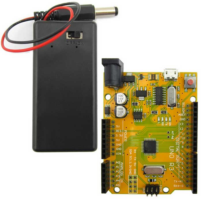 UNO R3 ATmega328P Development Board + 9V Battery Case for Arduino DIY