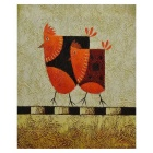 Happiness of Chicken Couple Canvas Art Hand Painted Oil Painting - Red + Black + Multi-Color