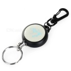 Outdoor Flexible Retractable Steel Wire Rope Key Ring Keychain - Black + Silver