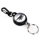 FURA Outdoor Retractable Steel Wire Rope Keychain - Black + Silver