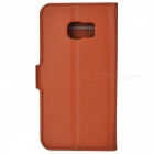 Embossed PU Leather Case w/ Card Slots for Samsung S6 Edge - Brown