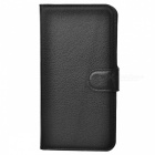 Lychee Pattern Protective PU Case w/ Stand / Card Slots for Huawei P8 - Black