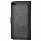 Lychee Pattern PU Case w/ Stand / Card Slots for Huawei P8 - Black
