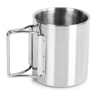Camping Water Cup Mug w/ Folding Handle - Silver + Blue (220ml)
