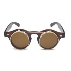 SENLAN redondo Retro PC lente UV400 gafas de sol - Brown + leonado