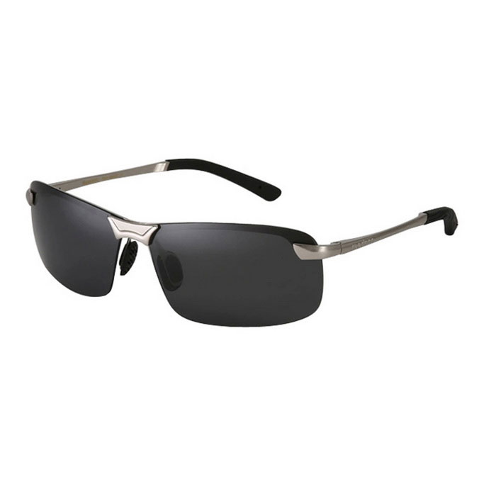 ReeDoon Men's Resin Lens Polarized Driving Sunglasses - Silver + Grey