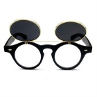 SENLAN UV400 Protection PC Lens Clamshell Sunglasses - Black + Grey