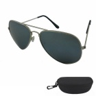 Outdoor UV400 Protection Reflective Metal Frame PC Lens Sunglasses - Golden + Mercury