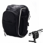 Bike Bicycle Handlebar / Saddle Seat Tail / Waist Bag w/ Rain Cover - Black + White