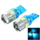 T10 1W Car LED Bulbs Ice Blue Light 490nm 45lm SMD 5730 - Light Blue + Silver (12V / 2 PCS)