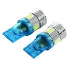T10 1W Car LED Bulb Ice Blue 490nm 45lm - Light Blue + Silver (2PCS)
