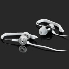 Super Bass In-Ear auriculares w / Desmontable Ear-gancho, Mic - Blanco + Plata