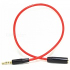 4 Segments 3.5mm Male to Female Audio Cable - Red + Black (30cm)