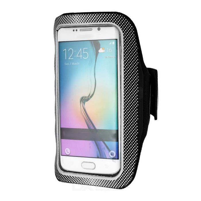 Mini Smile Sport Armband w/ Velcro for Samsung S6/S6 Edge - Grey+Black