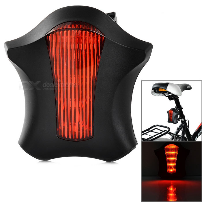 Bicycle 5-LED 7-Mode Red Light + 2*Red Laser Tail Light - Red