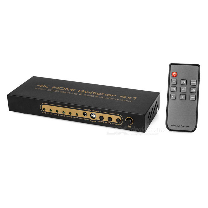 4K 4 x HDMI AV Signal Switcher Splitter - Black + Gold (US Plugs)