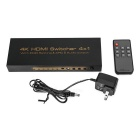 4K 4 x HDMI Splitter Switch Signal AV - Preto + Ouro (Plugs EUA)