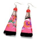 Chinese Ethnic Flower Cloth Embroidered Earrings