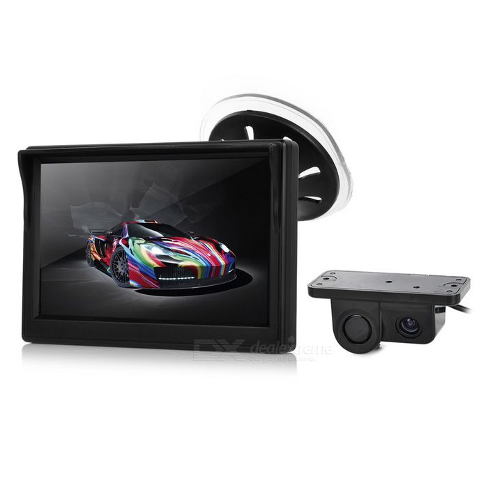 "5"" TFT Car Rearview Monitor + Camera + Reverse Radar Sensor - Black"