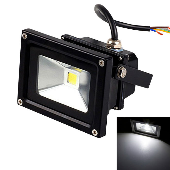 JIAWEN Waterproof 10W COB LED Floodlight White 6500K 800lm - Black