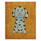 Cute Dog Canvas Art Hand Painted Oil Painting - Orange + White + Multicolor
