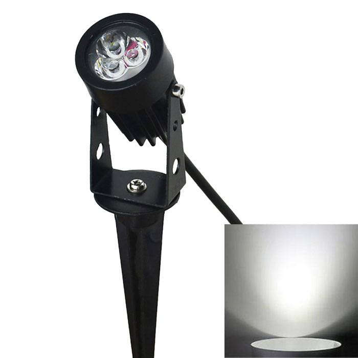 JIAWEN 3W 3-COB LED Insert Lawn Lamp White Light 270lm 6500K - Black