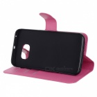 Flip-Open PU Case w/ Stand, Card Slots for Samsung S6 Edge - Deep Pink