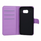 Flip-Open PU Case w/ Stand / Card Slots for Samsung S6 Edge - Purple