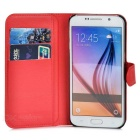 Flip-Open PU Case w/ Stand / Card Slots for Samsung S6 Edge - Red