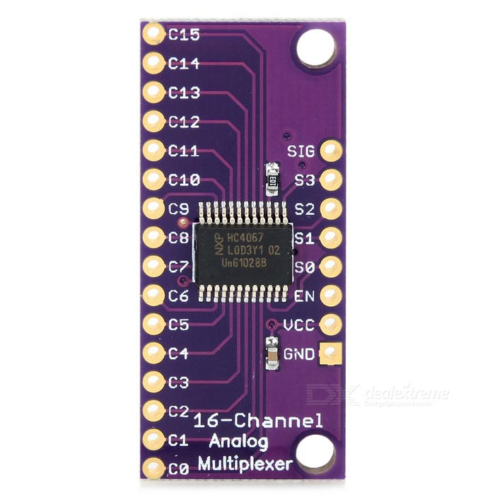 CJMCU-16 CD74HC4067 16-CH Analog / Digital MUX Breakout ModuleOther Accessories<br>Form  ColorPurpleModelN/AQuantity1 DX.PCM.Model.AttributeModel.UnitMaterialCCL + componentsEnglish Manual / SpecYesDownload Link   http://pan.baidu.com/s/1pJGBYn5Other Features2~6V operation;<br>On resistance: 70ohm @ 4.5V;<br>6ns break-before-make @ 4.5V;<br>Wide operating temperature range: -55~125C.Packing List1 x Breakout board 2 x Pin headers<br>