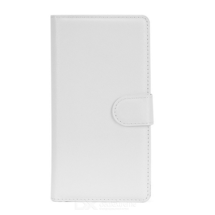 Lychee Pattern PU Case w/ Stand / Card Slots for Huawei P8 - White