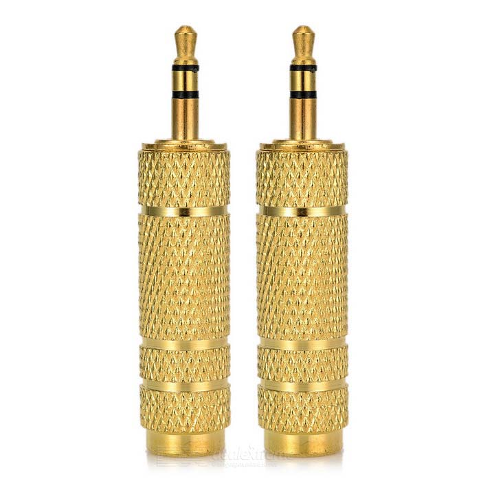 Copper Plated 6.5mm to 3.5mm Microphone Audio Adapters - Golden (2 PCS)