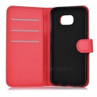 Lychee Pattern PU Case w/ Stand, Card Slots for Samsung S6 - Red