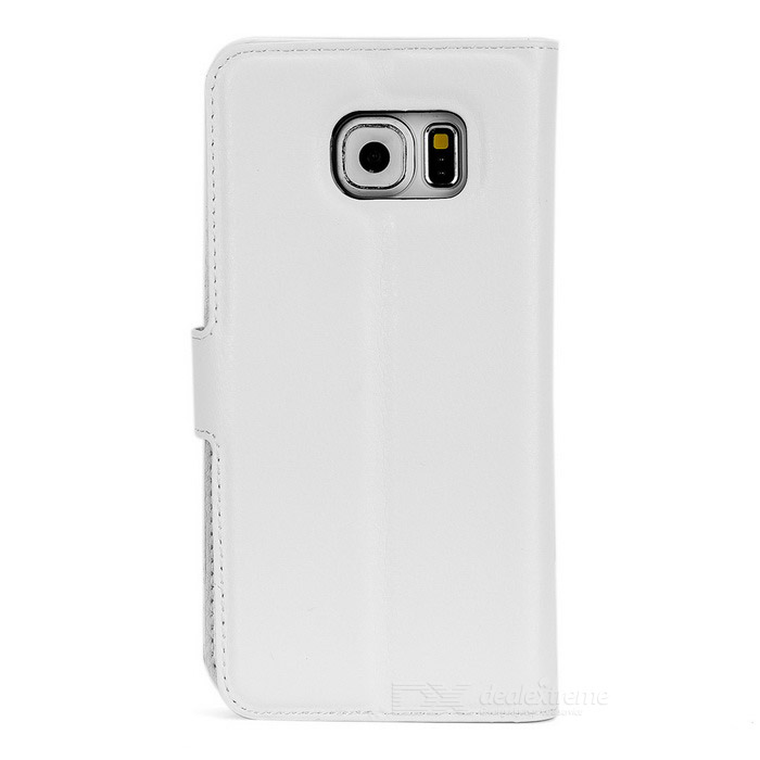 Lychee Pattern PU Case w/ Stand, Card Slots for Samsung S6 - White