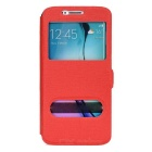 Protective PU Case w/ Stand / Dual Visual Window for Samsung S6 Edge - Red