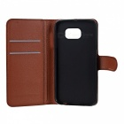 Lychee Pattern PU Case w/ Stand, Card Slots for Samsung S6 - Brown