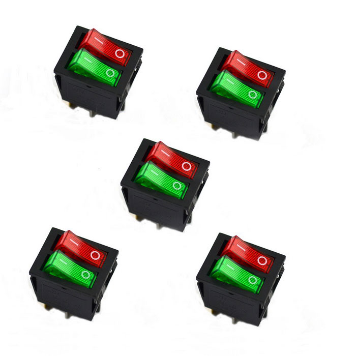 Jtron 6-Pin Double On/Off Rocker Boat Shaped Switch (5PCS)