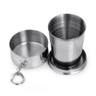 Portable Stainless Steel Folding Cup Bottle w/ Keyring - Silver (140ml)