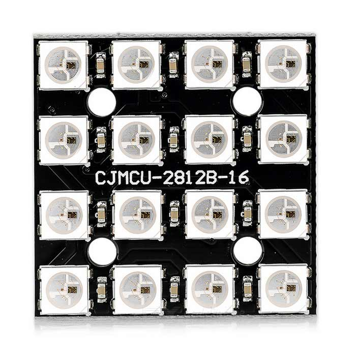 WS2812B 4*4 Bit RGB LED Full Color Driver 16-Bit Module for ArduinoBoards &amp; Shields<br>Form ColorBlackModelN/AQuantity1 DX.PCM.Model.AttributeModel.UnitMaterialFR4, PCB, LEDChipsetWS2812B 5050 RGB LEDEnglish Manual / SpecYesDownload Link   http://www.adafruit.com/datasheets/WS2812.pdfPacking List1 x Module<br>