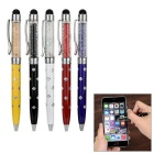 Kinston 5-in-1 Universal Ballpoint Pens Fine Capacitive Touch Screen Silicone Stylus - Black + Red