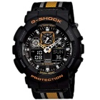 Genuine Casio Limited Model GA-100MC-1A4DR Cloth Band Men's Analog-Digital Watch - Black