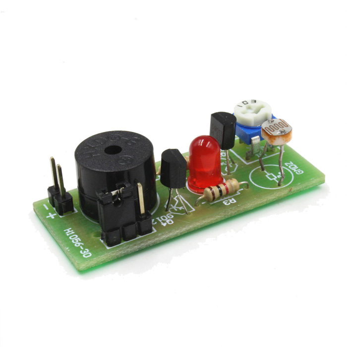 Photosensitive Acousto-optic Alarm Module for ArduinoOther Accessories<br>Form  ColorGreen + Black + Multi-ColoredModelN/AQuantity1 DX.PCM.Model.AttributeModel.UnitMaterialFR4English Manual / SpecYesDownload Link   http://pan.baidu.com/s/1hqKUlP6Other FeaturesPower supply voltage: DC 3V~5VPacking List1 x Module<br>