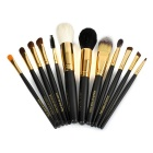 MAKE-UP FOR YOU 12-in-1 Beauty Facial Cosmetic Brushes w/ Bag Set - Black