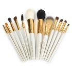 MAKE-UP FOR YOU 12-in-1 Beauty Facial Cosmetic Brushes w/ Bag Set - White