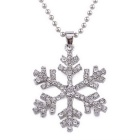 Women's Crystal Alloy Necklace Rhinestone Snowflake Pendant Necklace - White (52cm)