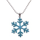 Women's Crystal Alloy Necklace Rhinestone Snowflake Pendant Necklace - Blue (52cm)