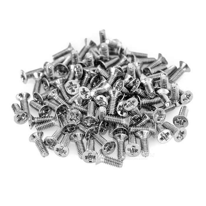 2mm M2x6 Stainless Steel Flat-Head Screw Bolt - Silver (100pcs)