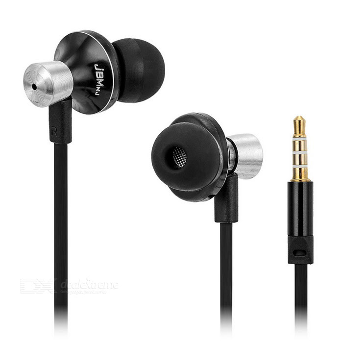 JBMMJ MJ9013 Bass Metal auriculares con cable plano - negro + plata (3,5 mm)